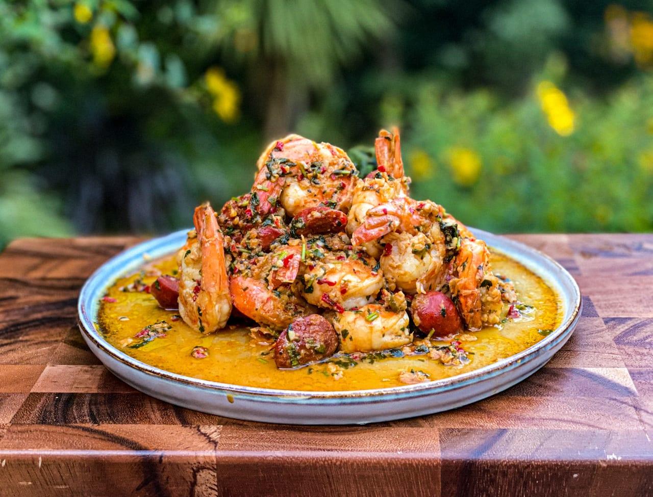 Garlicky King Prawns & Chorizo