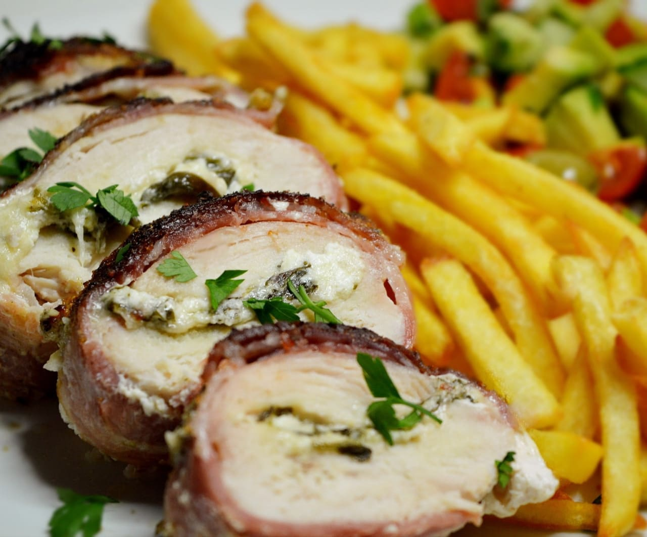 Three Cheese & Spinach Stuffed Bacon Wrapped Ranch Rubben Chicken