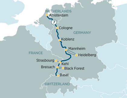 Rhine river map
