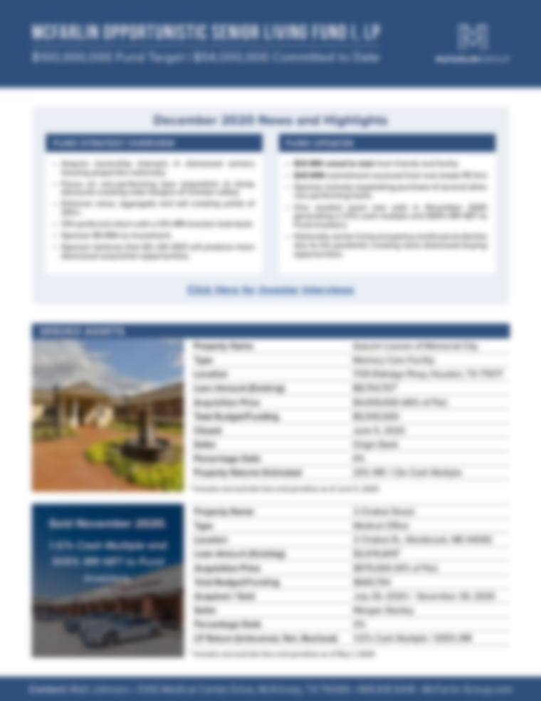 McFarlin Opportunistic Senior Living Fund I, LP - December 2020 Newsletter