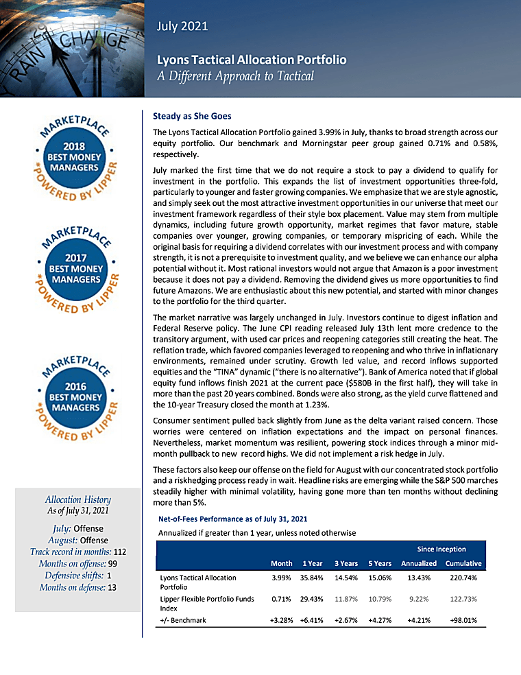 Lyons Tactical Allocation Portfolio - Commentary July 2021