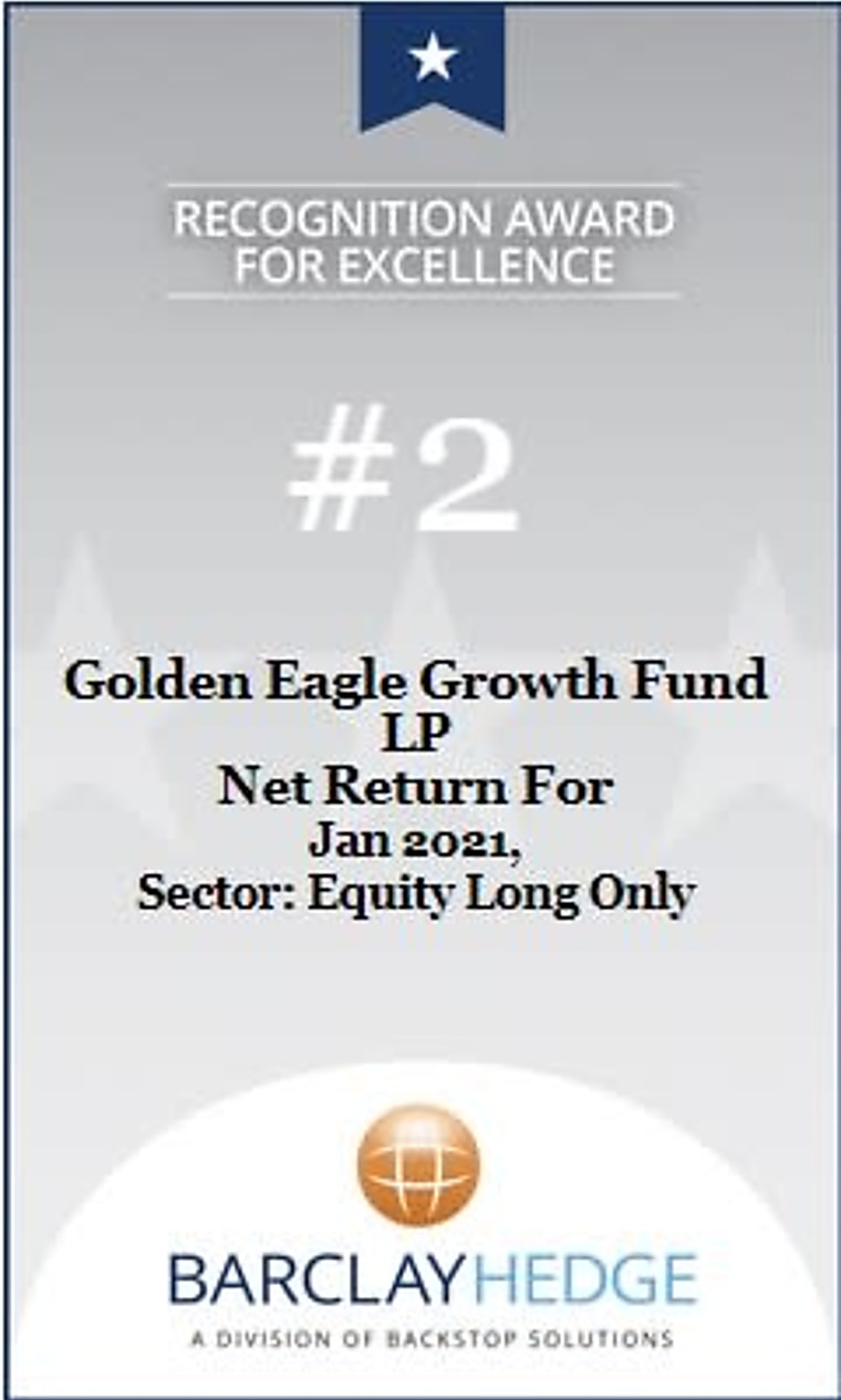 BarclayHedge January 2021 Award - Golden Eagle Growth Fund LP Receives Award For #2 Net Return In The Equity Long Only Category