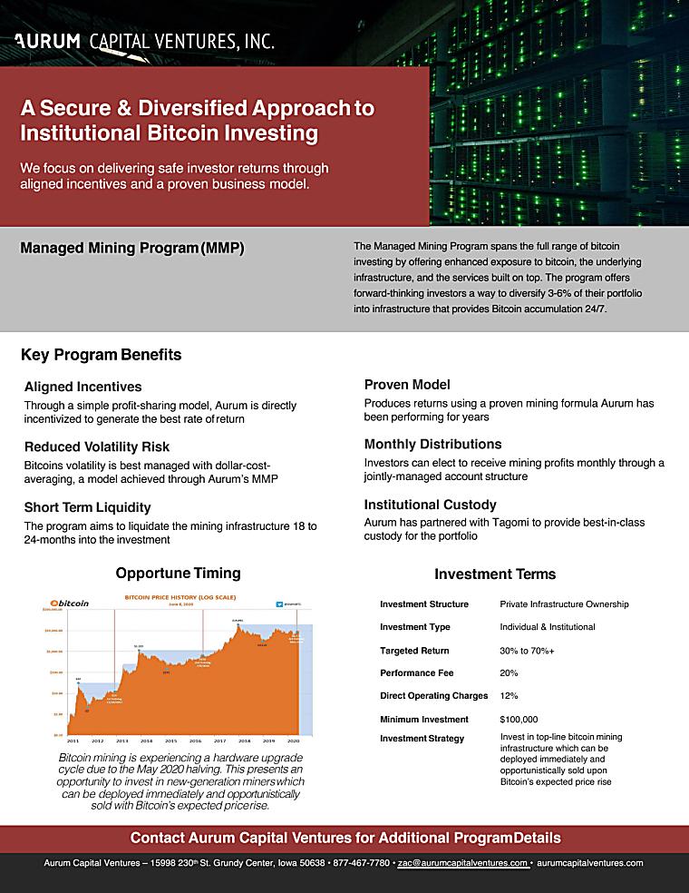 Managed Mining Program - Tear Sheet