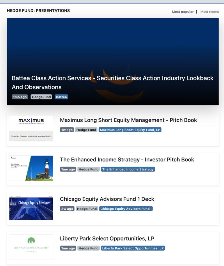 Hedge Fund Presentations
