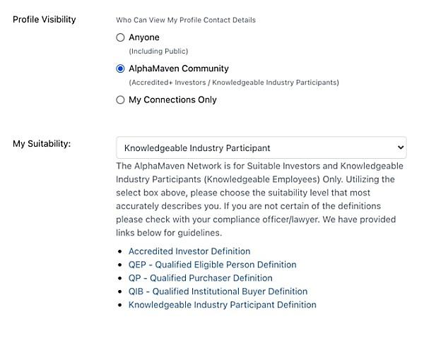 AlphaMaven Member Visibility Settings