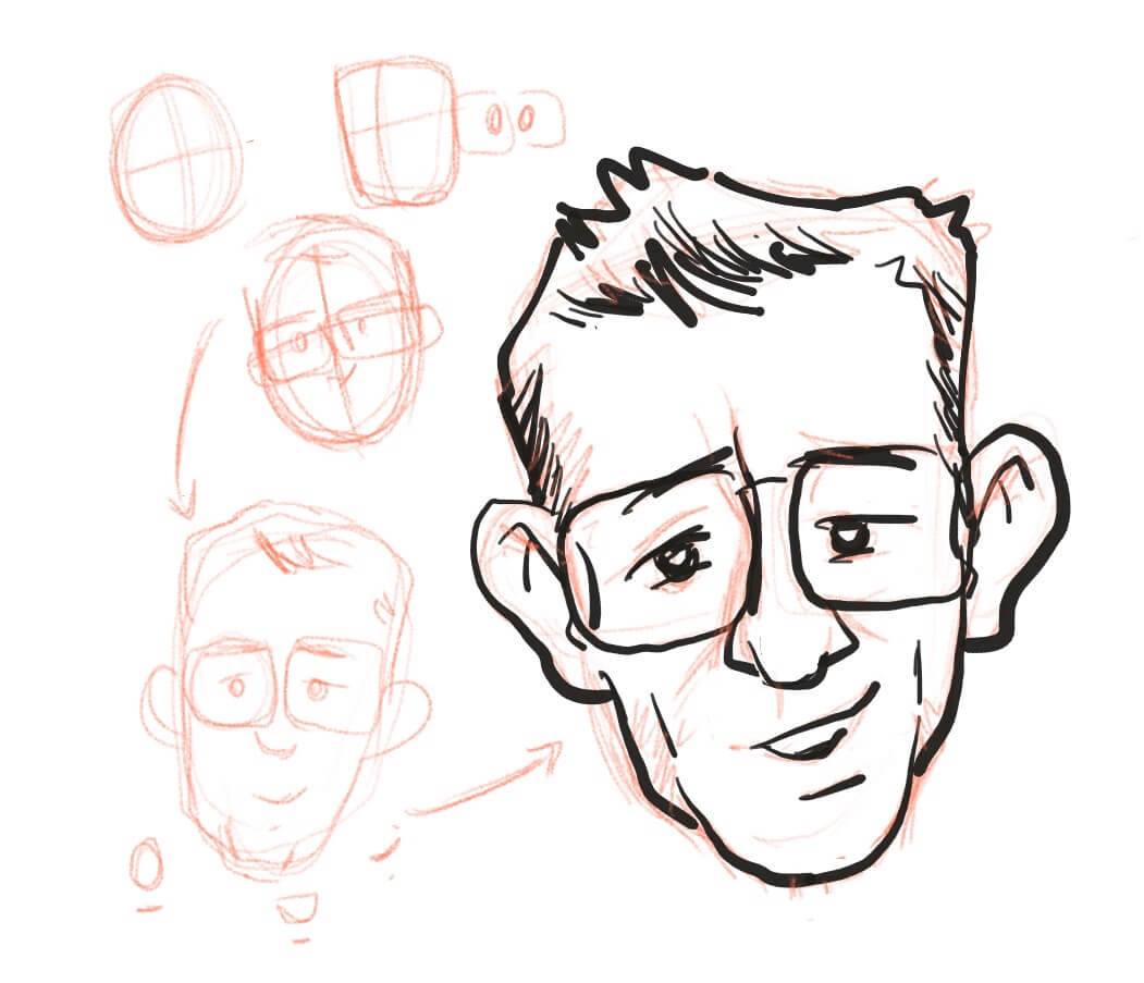 Progressive sketch of the face of Thomas Michaud