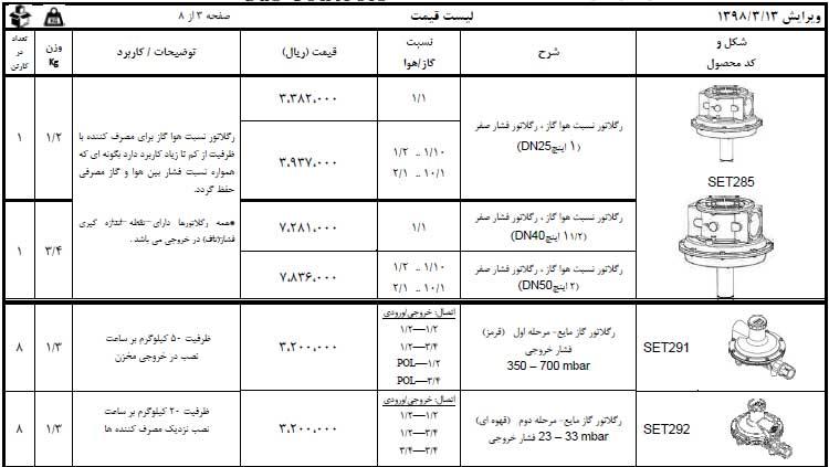 لیست قیمت رگراتور گاز مایع