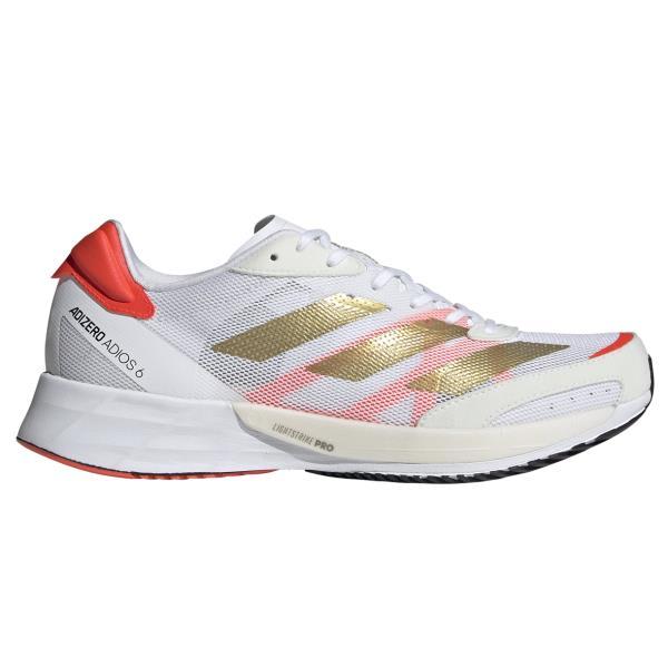 Adidas Adizero Adios 6 - Womens Running Shoes - White/Gold Metallic/Solar Red