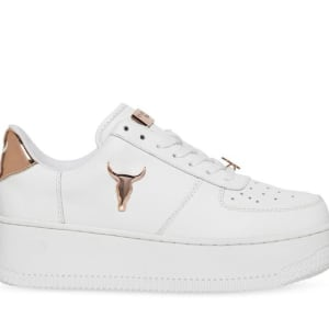 Windsor Smith Windsor Smith Womens Rich White Leather Rose Gold 3D Bul