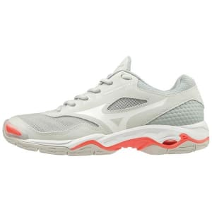 Mizuno Wave Phantom 2 - Womens Netball Shoes - Glacier Grey/White/Fiery Coral