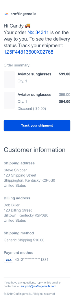 Shipping confirmation