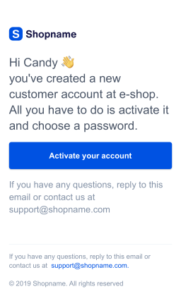 Customer account invite