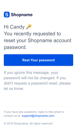 Customer account password reset