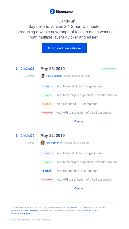 Product release email