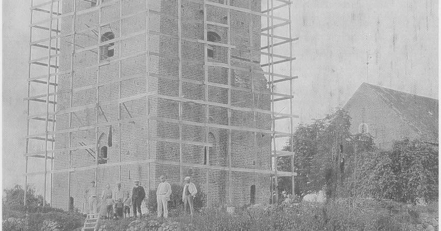 Kirketårnet til Sankt Sørens Kirke i Gl. Rye under opførelse - 1912