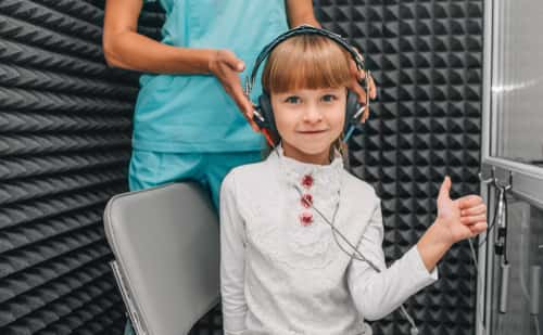 Child doing hearing test