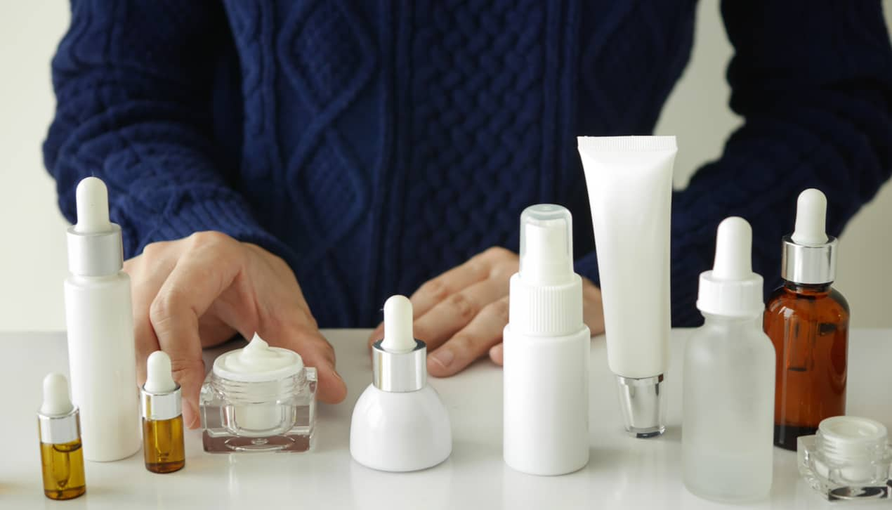 skincare products on a table