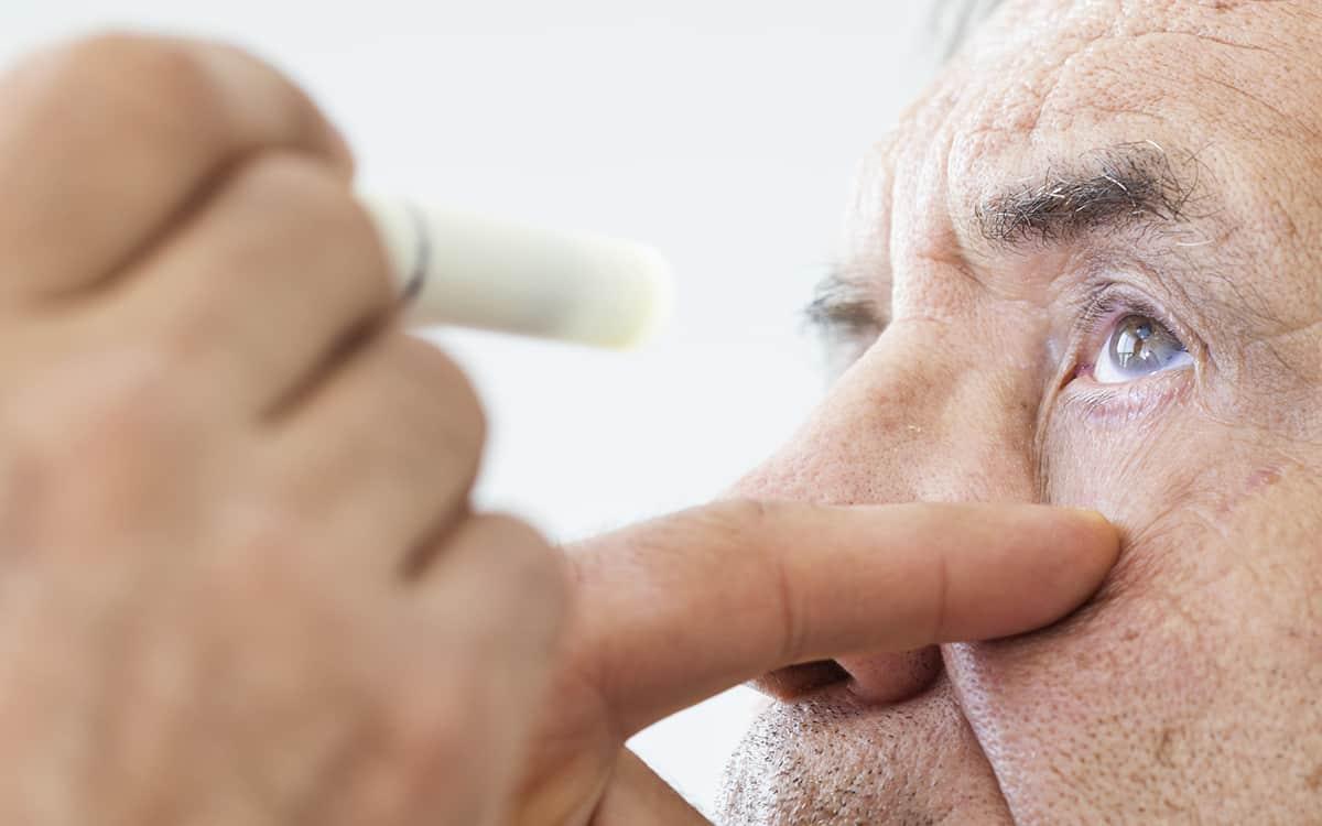 man undergoing eye check