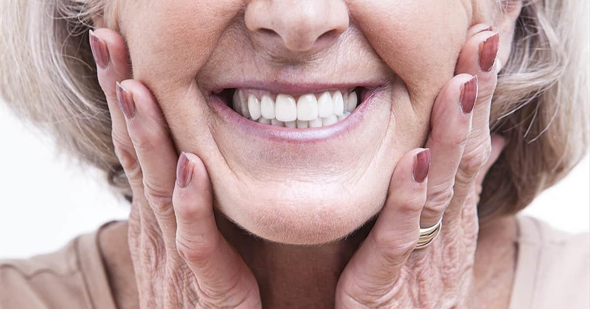 elderly lady smiling at camera