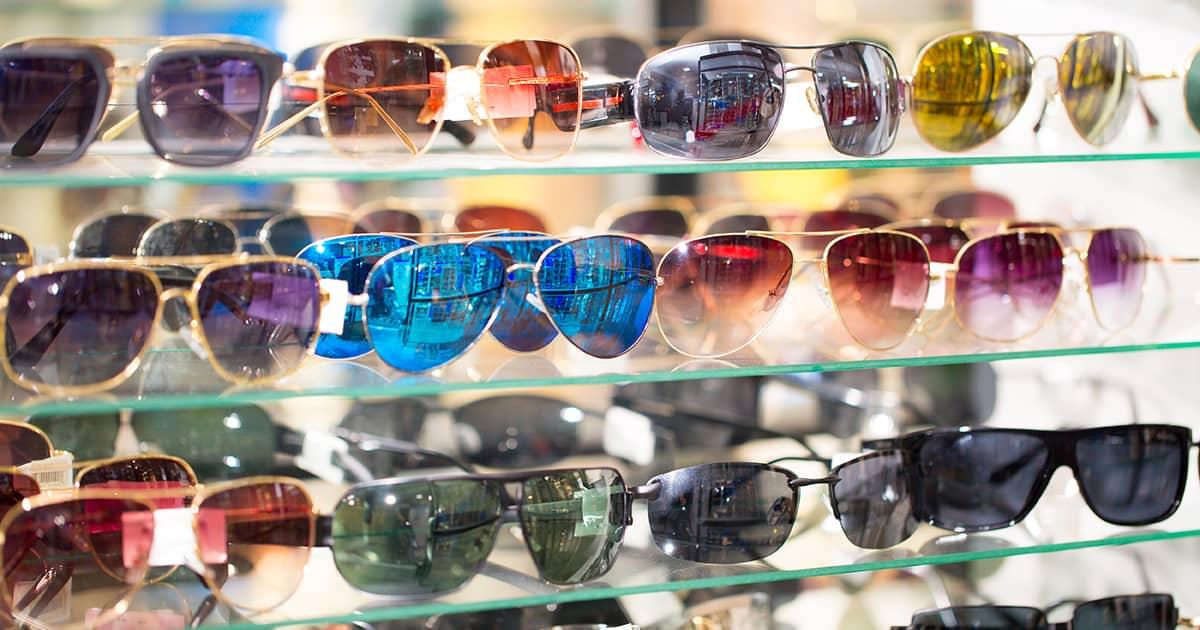 sunglasses in an optical shop