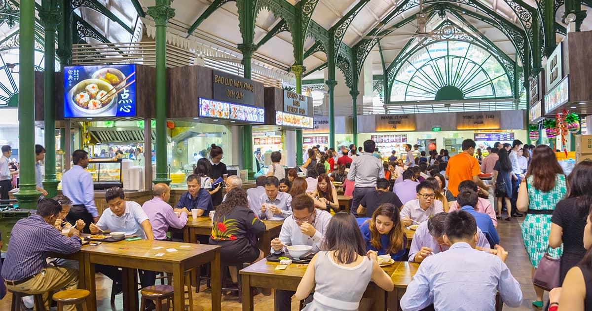 singaporeans dining at lau par sat