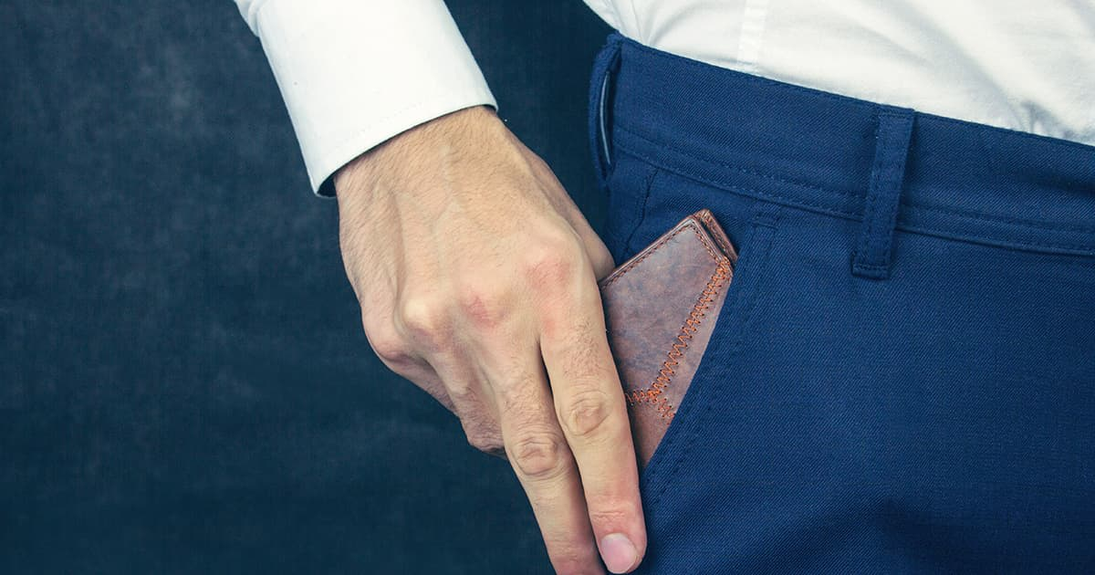 a man taking out his wallet