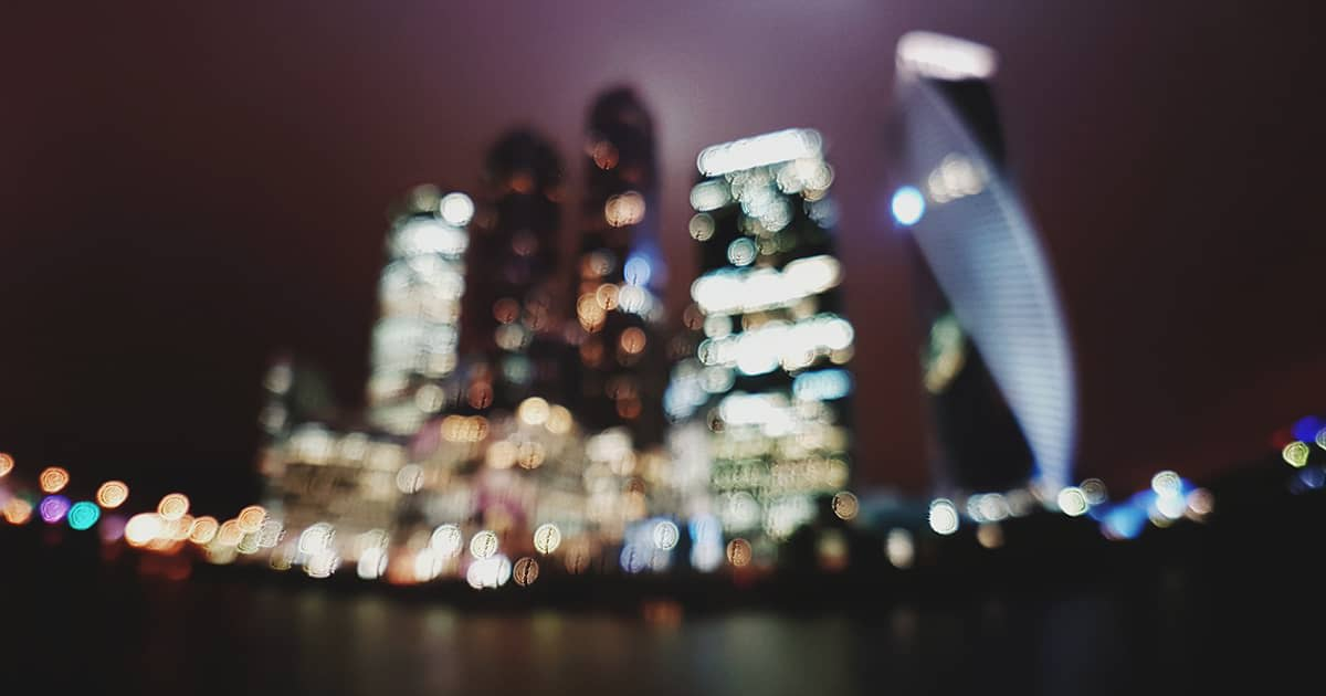 blurred view of a city at night
