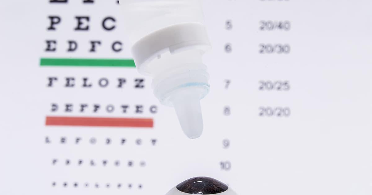 eye drops and an eye chart