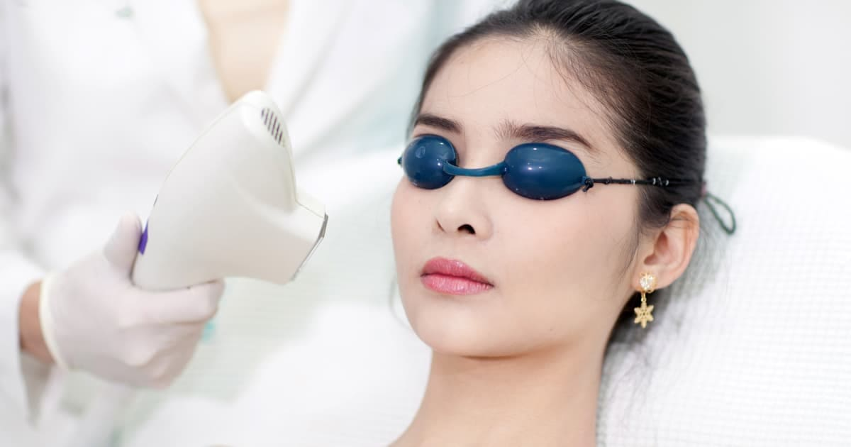 a woman having laser treatment