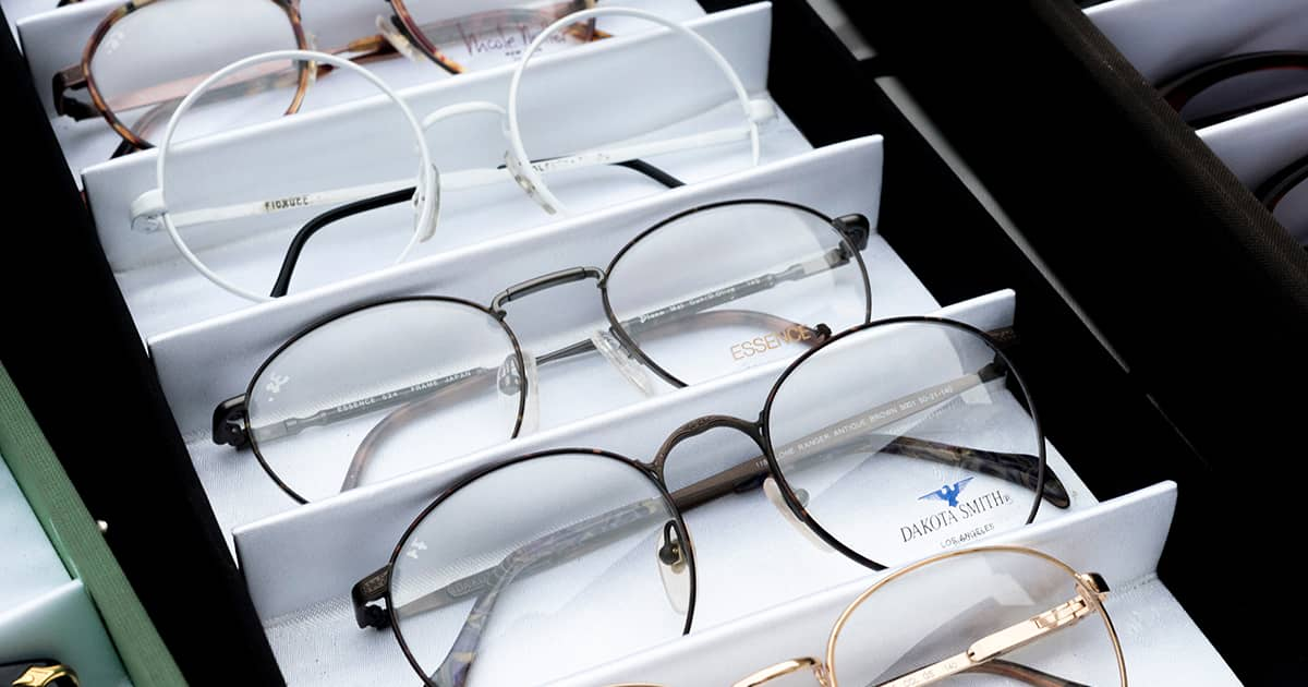 a selection of glasses at an optical shop
