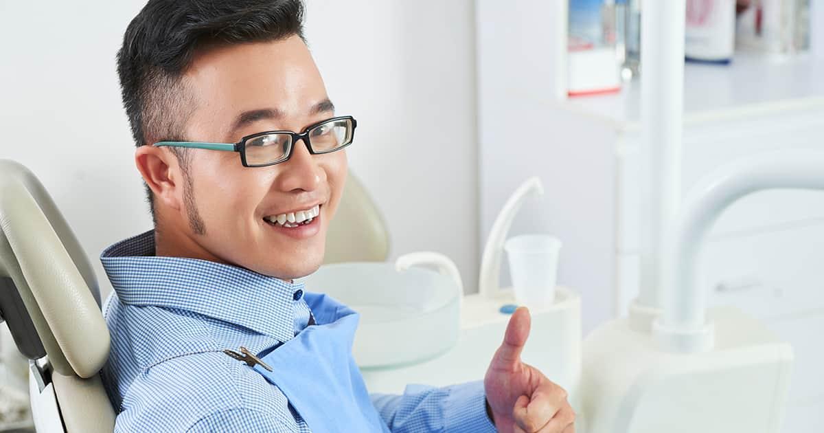 a man in a dental chair