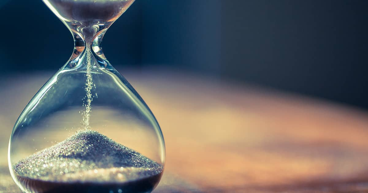 an hourglass with sand