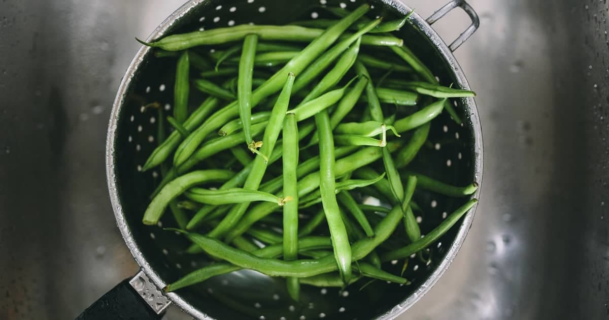 long beans in a pan
