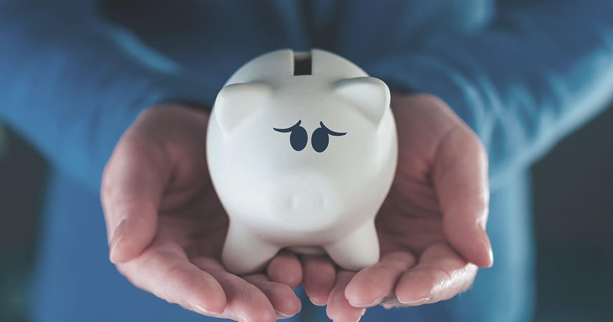 a piggy bank in a person