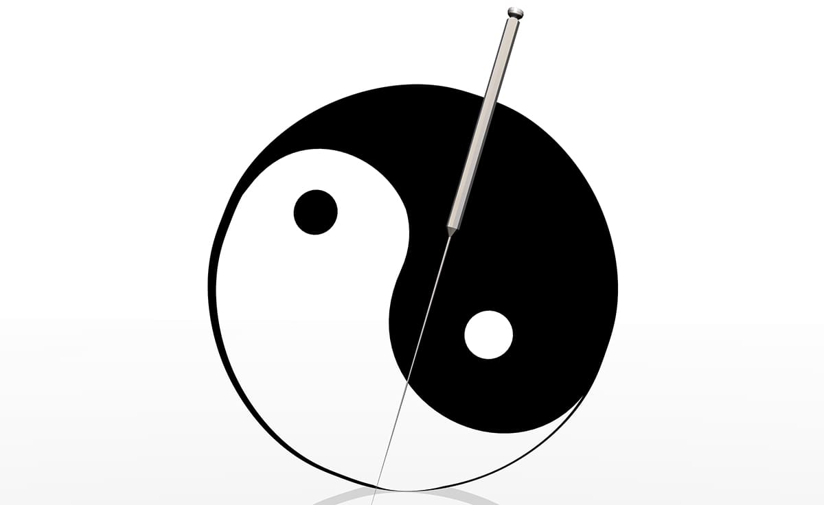 yin and yang illustration with a needle