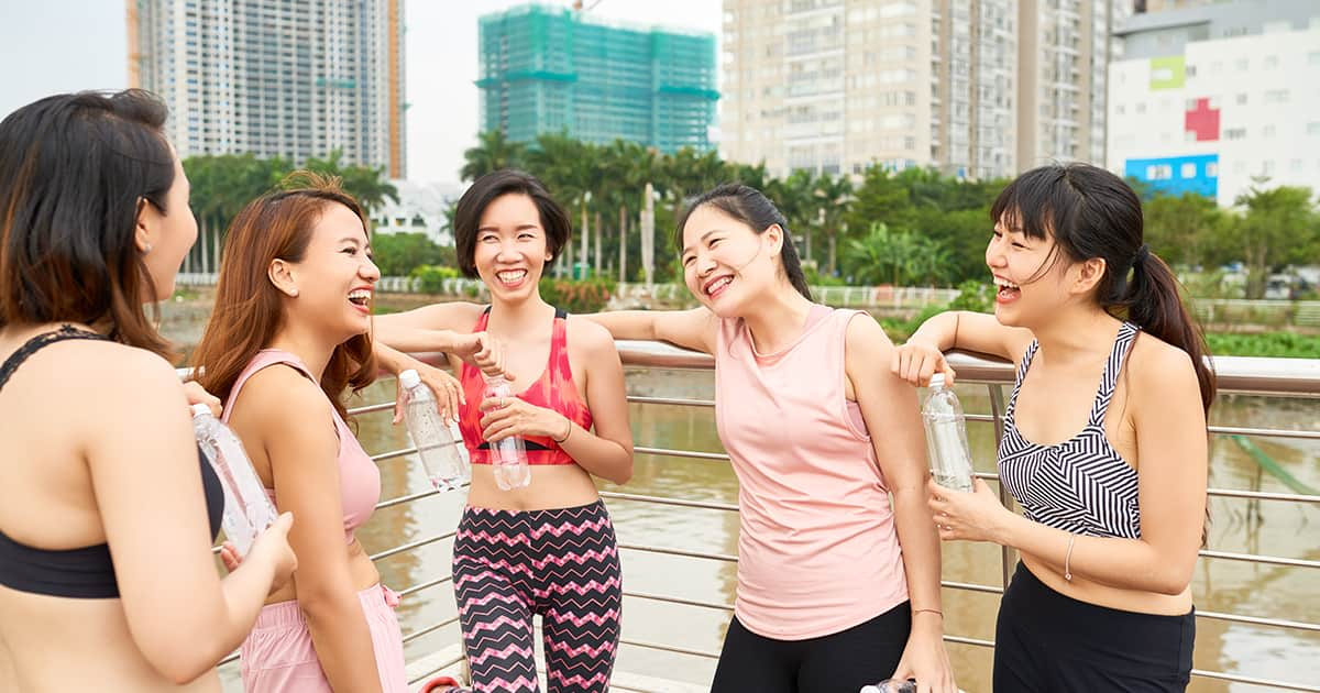 female friends chatting after exercise