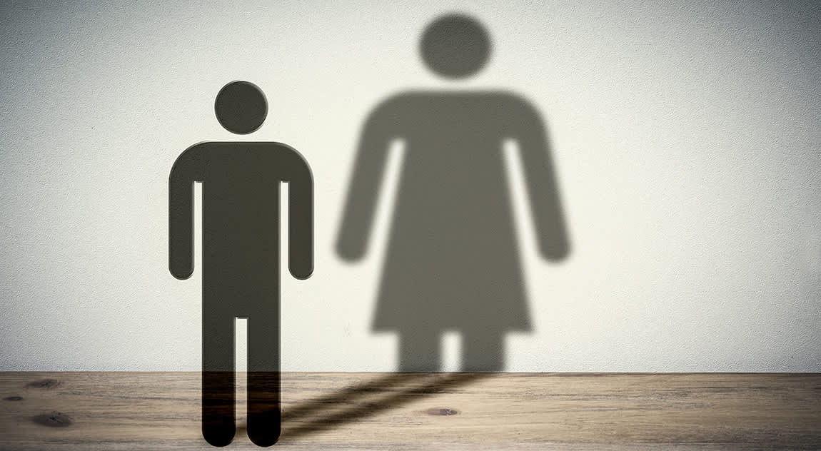 man icon with a shadow of a woman