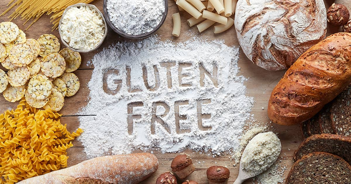 flatlay and illustration of gluten free items