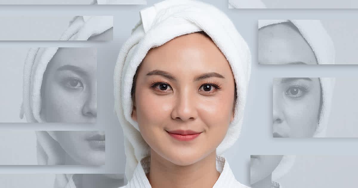 closeup on asian woman smiling
