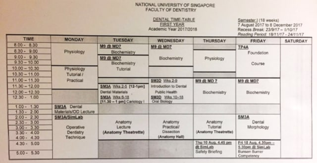 NUS dentistry time table Year 1