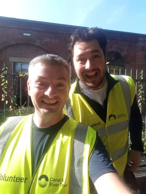 image Liam and Lucas volunteering on Leeds canal, summer 2019.