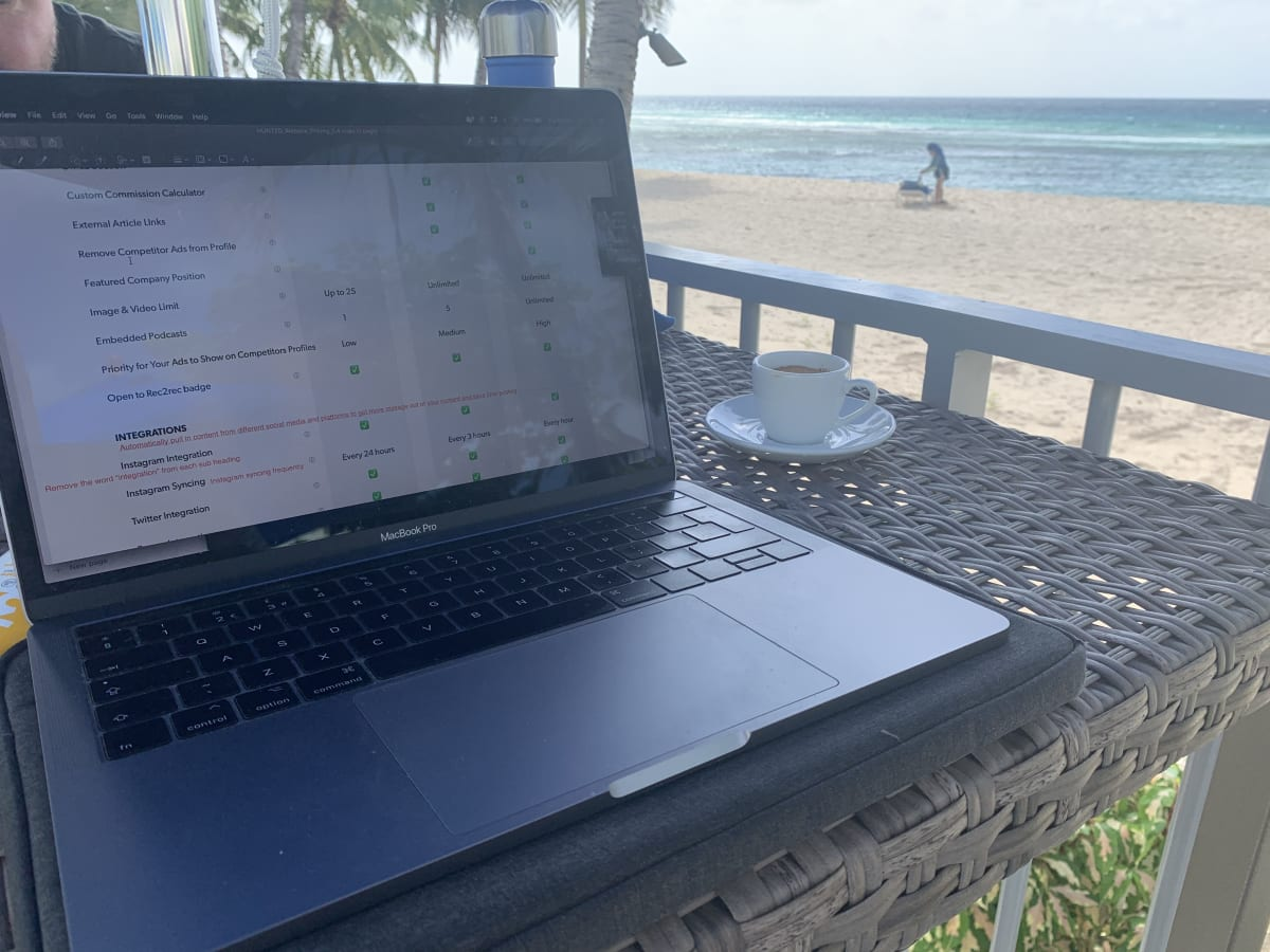 image Remote working from Barbados. Rough life