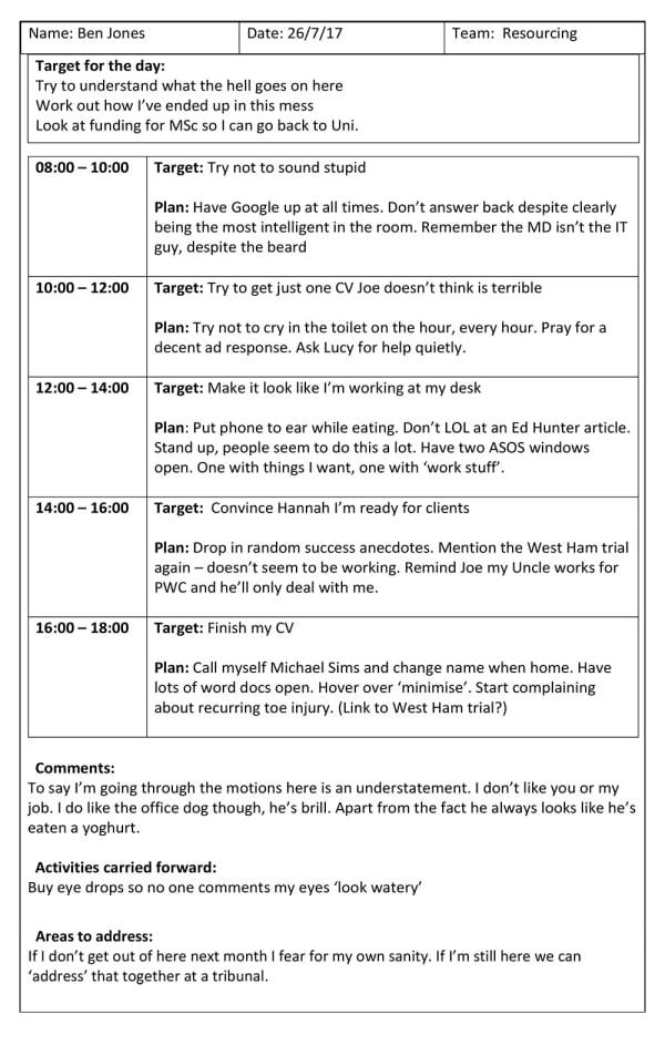 Ed Hunter Recruitment Day Plan Ben Jones