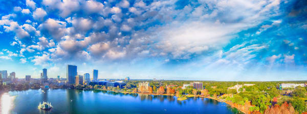 Orlando aerial view, skyline and Lake Eola at dusk