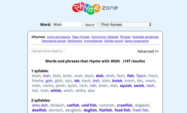 Rhymezone screenshot