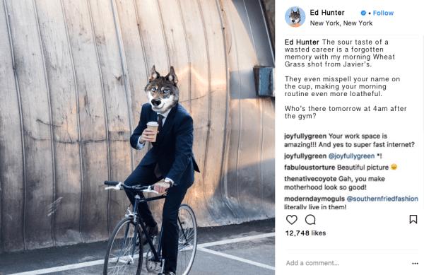 Ed Hunter Instagram Influencer Marketing Wheat Grass Shot