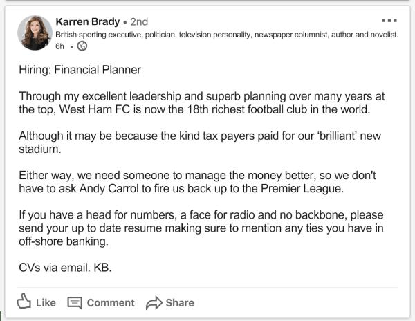 Karren Brady LinkedIn Job Ad