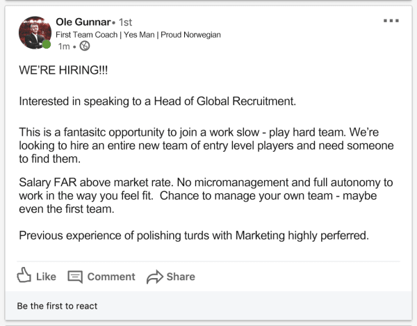 Ole Gunnar Head of Recruitment LinkedIn Job Ad