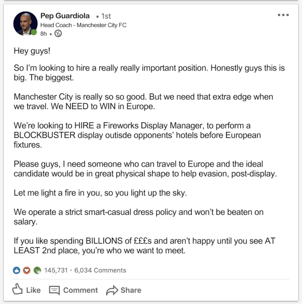 Pep Guardiola LinkedIn Job Ad