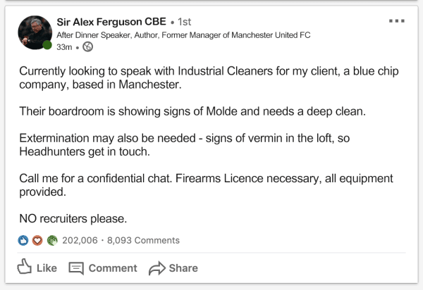 Sir Alex Ferguson LinkedIn Job Ad